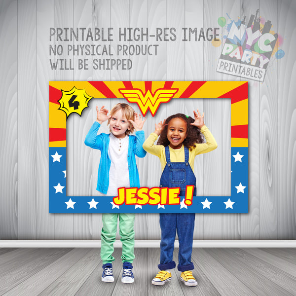 Wonder Woman Party, Wonder Woman Photo Booth, Wonder Woman Frame, Wonder Woman Party, Wonder Woman Photo Booth Party Frame PRINTABLE - NYC PARTY PRINTABLES