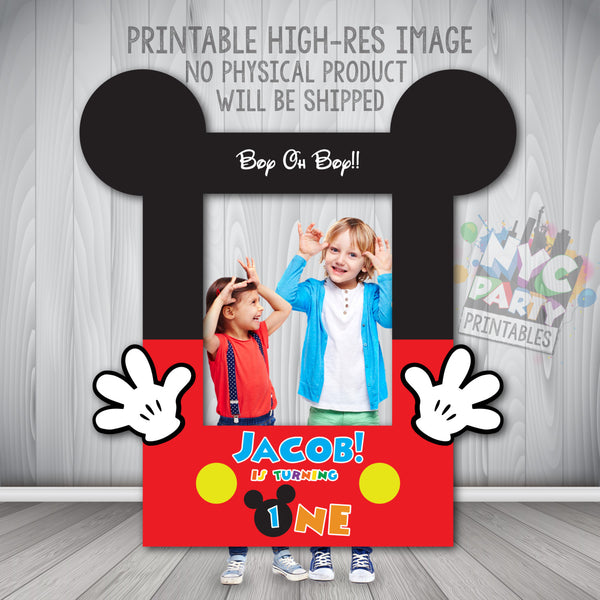 Mickey Mouse Photo Booth Frame,  Printable Mickey Mouse Photo Booth Frame, Mickey Mouse Photo Booth Digital File - NYC PARTY PRINTABLES