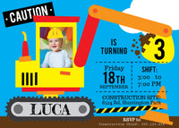 Construction Birthday Invitation, Photo Invitation, Construction Birthday Invite, PRINTABLE Invitation, Photo Invitation, Personalized - NYC PARTY PRINTABLES