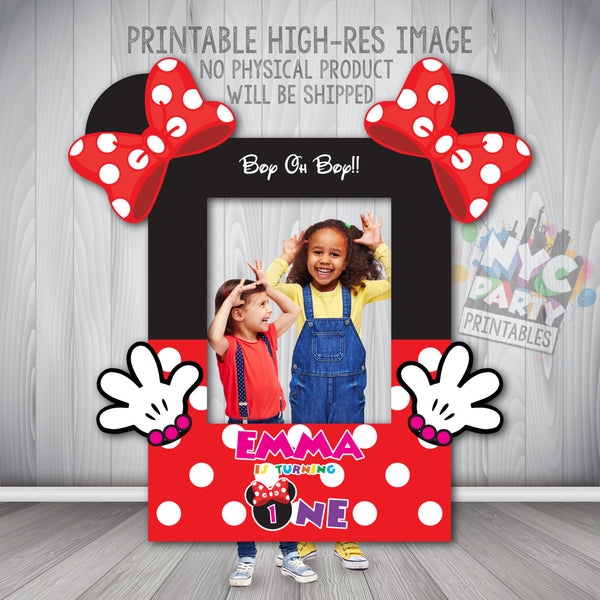 Minnie Mouse Photo Booth Frame, Minnie Mouse Photo Booth,  Printable Minnie Mouse Photo Booth Frame, Minnie Mouse, First Birthday - NYC PARTY PRINTABLES