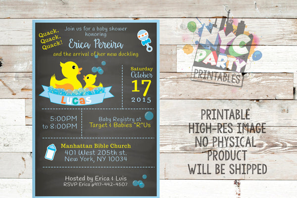 Chalkboard Baby Shower Invitation, Rubber Ducky Baby Shower Invite, Rubber Duckie Baby SHower, Rubber Ducky Baby Sprinkle