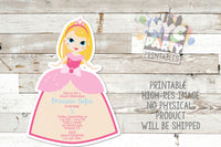 Princess Birthday Party Invitation, Blonde Princess Invite, Princess Dress, Princess Invitation, Pretty in Pink, Pink Princess Decor