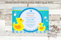 Rubber Ducky Baby Shower Invitation, Boy Baby Shower Invitation, Baby Sprinkle Invitation, Rubber Duckie Invite, Rubber Ducky Baby Shower - NYC PARTY PRINTABLES