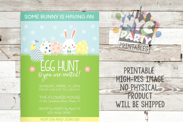 Easter Invitation, Easter Brunch, Easter Party, Easter Egg hunt, PRINTABLE INVITATION - NYC PARTY PRINTABLES