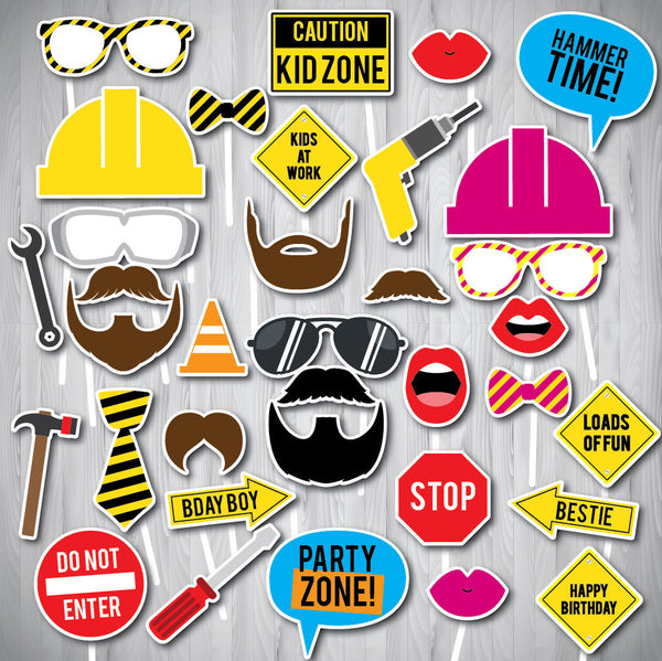 Construction Party Photo Booth Props, Printable Photo Booth Props, Instant Download Photo Booth Props, DOWNLOAD INSTANTLY - NYC PARTY PRINTABLES