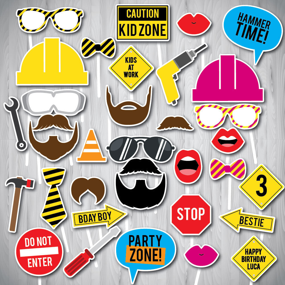 Construction Party Photo Booth Props, Printable Photo Booth Props, Personalized Photo Booth Props