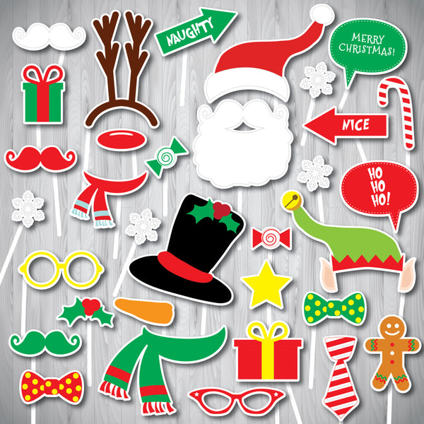 Christmas Photo Booth Props, Xmas Photo Booth Props, Christmas photo Props, Instant Download,