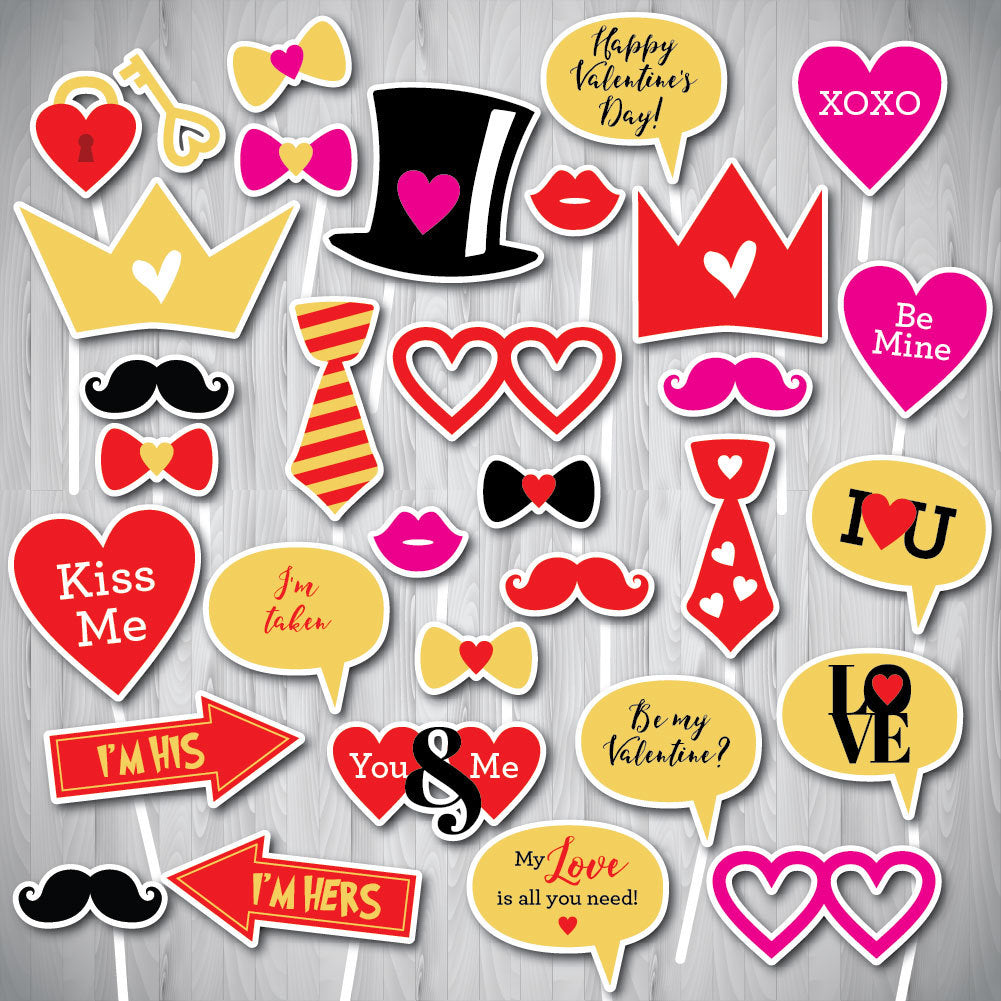 Valentine Photo Booth Props, PRINTABLE Photo Booth Props, Valentine's Day Photo Booth Props