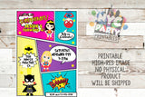 Superhero Party, Superhero Decor, PRINTABLE Superhero, DIY, Birthday Party Invitation, Batgirl, Wonder Woman, SuperGirl, SpiderGirl