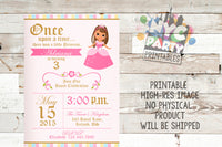 Princess Birthday Party Invitation, Brunette, Tan Birthday Princess invitation, Tan Birthday invite, Tan princess, dark haired princess - NYC PARTY PRINTABLES