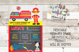 Firefighter Invitation, firefighter party, Firefighter birthday invite, fire truck party invitation, Printable