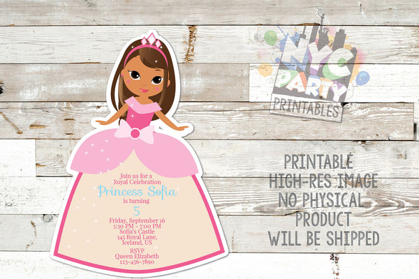 Princess Birthday Party Invitation,  Ethnic Princess, Brown Princess,  Dark skinned princess, African Princess, Indian Princess