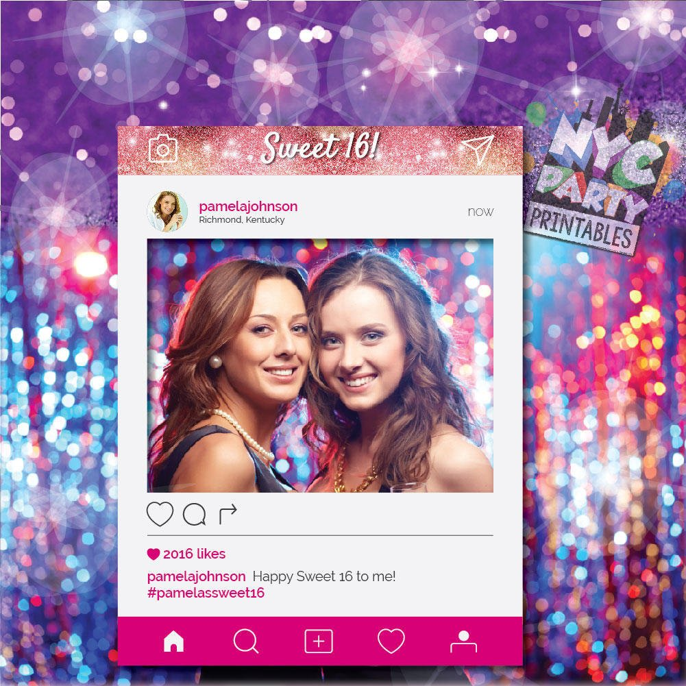 IG Frame, Photo booth frame, Sweet 16 PhotoBooth Frame, Instagram Sweet Sixteen, Sweet 16th, Sweet Sixteenth, IG PhotoBooth Frame