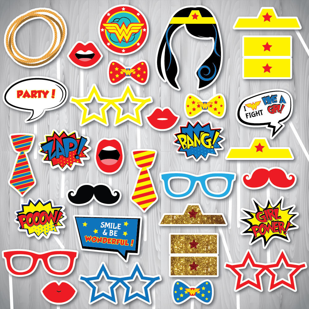 Wonder Woman Party, Wonder Woman Party Supplies, Wonder Woman Photo Booth Props, Wonder Woman Props, Party Props, INSTANT DOWNLOAD