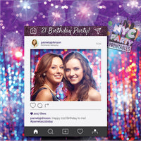 IG Frame, Photo booth frame, Instagram Frame, 21st Birthday Frame, PRINTABLE, Personalized Color, Occasion, Hashtags & Profile Picture
