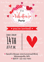 Valentine's Day Party Invitation, Printable invitation, Valentine