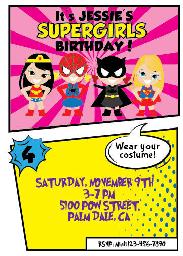 Superhero Party Invitation Super Hero Girl Birthday Invit NYC PARTY PRINTABLES