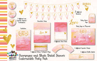 Blush and  Champagne, Pink and Gold, Bridal Shower, Bridal Shower Party Pack with invitation, Customized, personalized,