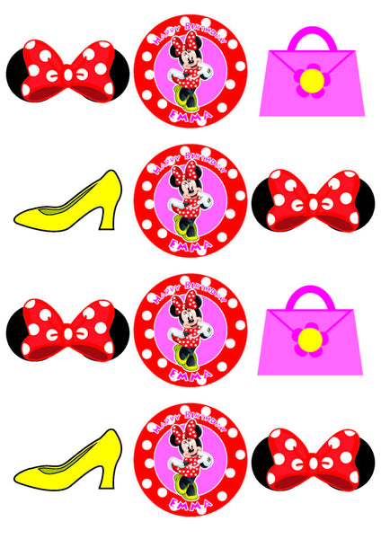 Minnie Mouse Cupcake Toppers, Minnie Mouse Party Favor Tags