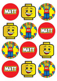 12 piece Lego Birthday Party Pack with Photo Booth Props Bonus Printable Invitation