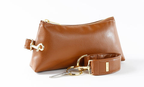 brown keyp-it set of clutch purse and keyper key ring bracelet