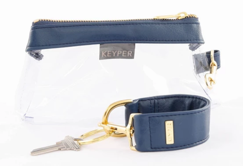 blue KEYPER key ring bracelet and matching clear purse