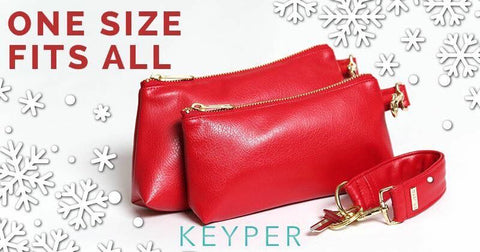 red faux leather keyper key ring bracelet with matching red clutch purse and hand bag