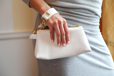 white leather KEYPER anti theft purse