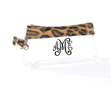 Brown Leopard Signature CLEAR IT BAG with monogram