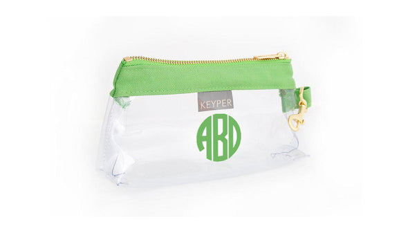 Green Classic Canvas CLEAR IT BAG with monogram