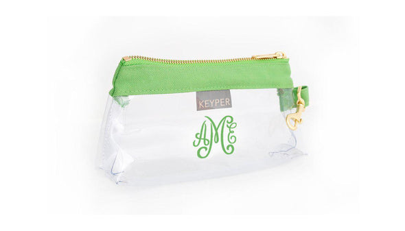 Green Canvas CLEAR IT BAG with monogram - on backorder until July 15