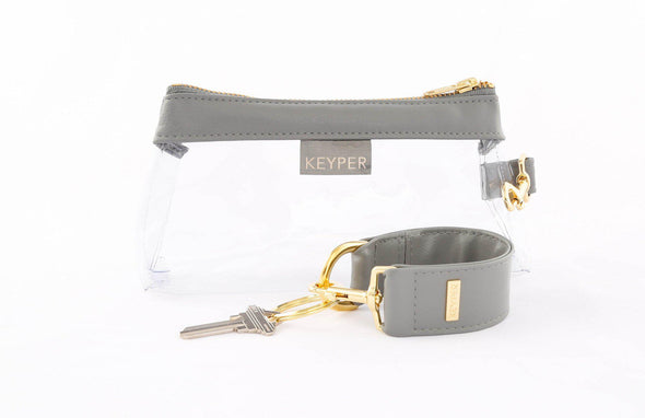 clutch purse, travel purse, key ring bracelet, clear bag, faux leather (vegan), pouch, KEYPIT Set • Wristlet