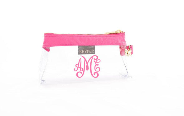 Bright Pink Signature CLEAR IT BAG with monogram
