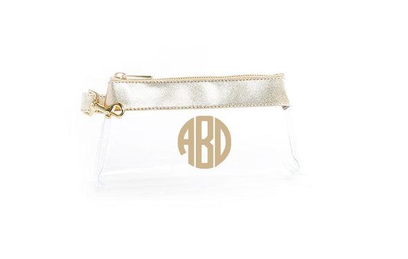 Rich Gold Leather CLEAR IT BAG with monogram