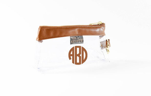 Saddle Brown Signature CLEAR IT BAG with monogram