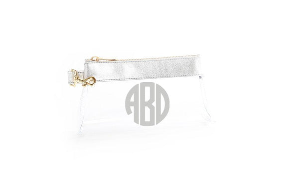 Stunning Silver Leather CLEAR IT BAG with monogram