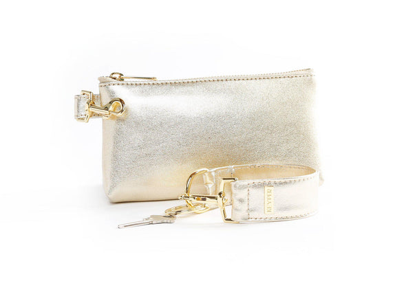 clutch purse, anti-theft travel purse, clear bag, keyring bracelet, leather