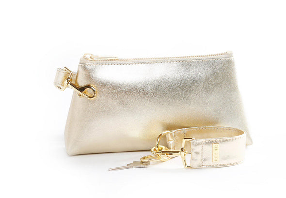 pouch, clutch purse, keyring bracelet, clear bag, leather