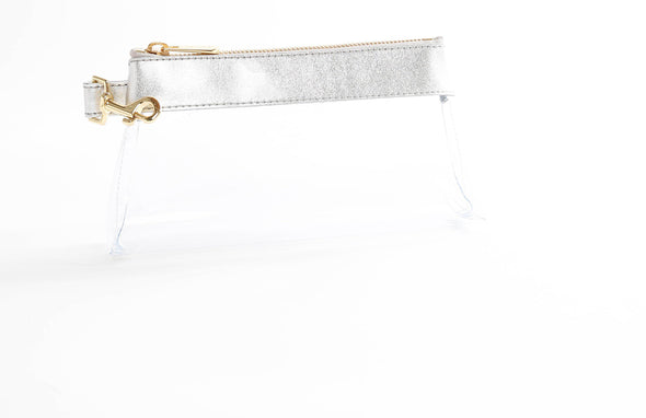 clutch purse, anti-theft travel purse, keyring bracelet, clear bag, premium leather