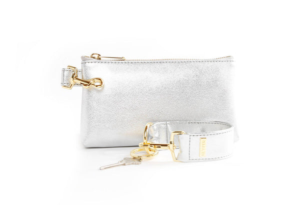 clutch purse, travel purse, key ring bracelet, leather,   pouch, KEYPIT Set • Wristlet, clear bag