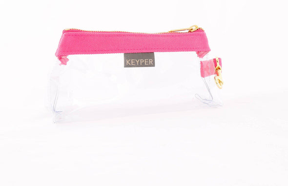 clutch purse, keyring bracelet, clear bag, canvas