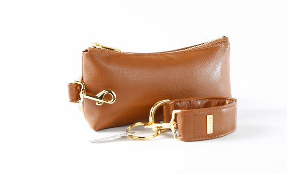 clutch purse, anti-theft travel purse, clear bag, keyring bracelet, faux leather (vegan)