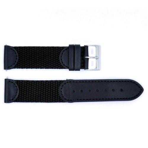 Genuine Swiss Army Black Leather and Nylon Combo 16mm watch band image
