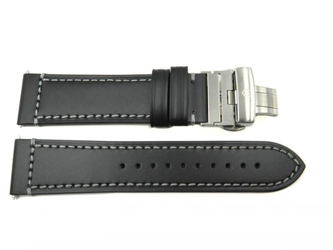 Genuine Swiss Army AirBoss Black Smooth Leather 23mm Watch Strap
