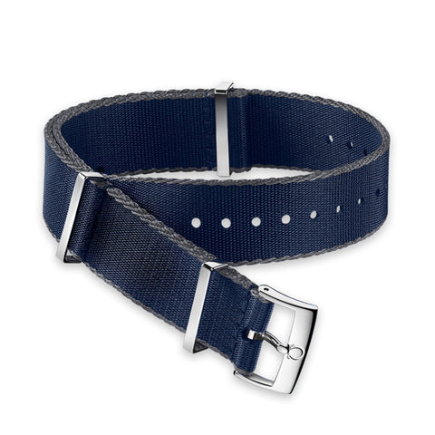 GENUINE OMEGA 20MM Polyamide blue grey-bordered STRAP