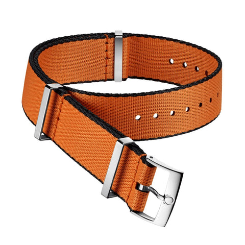 Omega 20MM Nato Polyamide orange strap with black borders