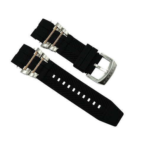 Invicta Black 36.8 mm Black Rubber Strap For Invicta Bolt 0829