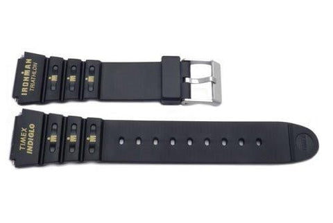 Timex Ironman Indiglo Triathlon Shock Black 18mm Rubber Watch Band