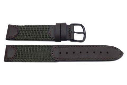 Genuine Swiss Army Large Brown & Olive Green Nylon and Leather 18mm Watch Band