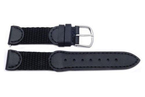 Genuine Swiss Army Black Leather And Nylon 17mm Short Watch Strap